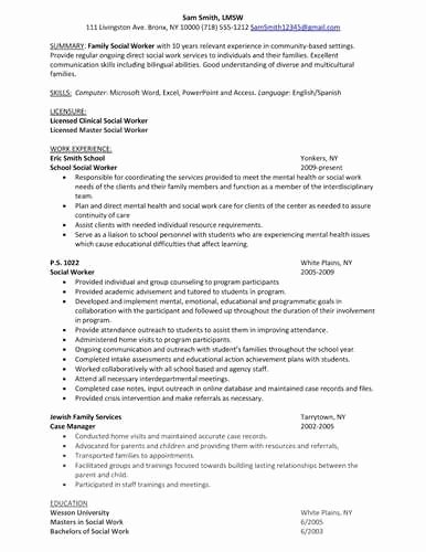 Good Luck with the School social Worker Resume Sample