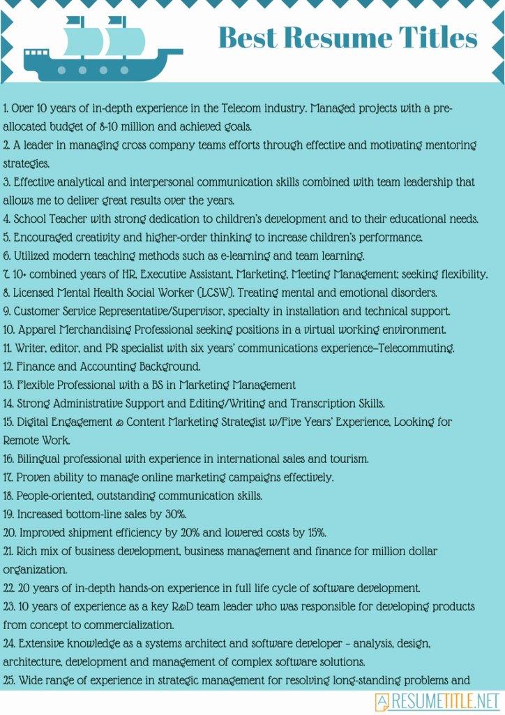 Good Resume Title Best Resume Gallery