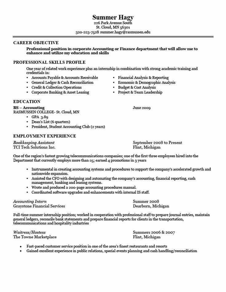good sample of resume