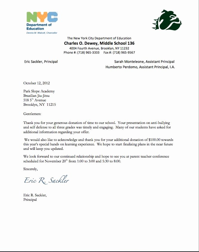 Goodly Donation Thank You Letter – Letter format Writing