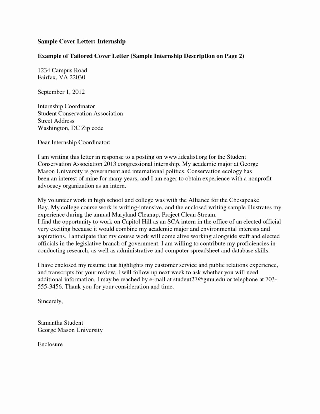 Goodly Example Cover Letter for Internship – Letter format