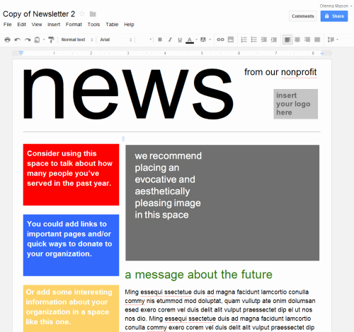 Google Doc Template Newsletter