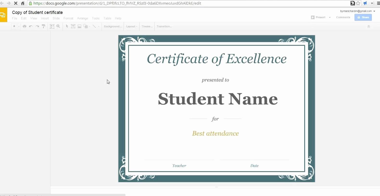 Google Docs Certificate Template