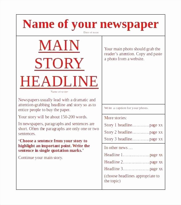 Google Docs Elementary Newspaper Template Colonial 5 Handy