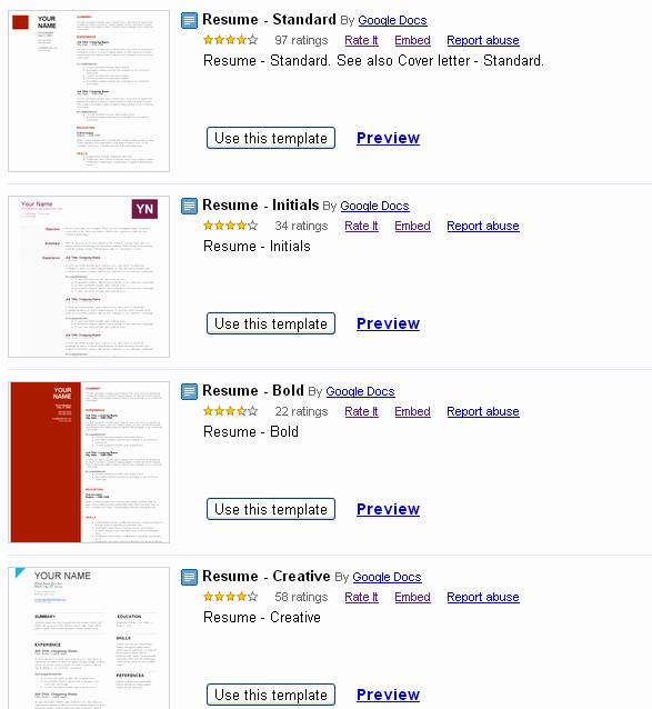 Google Docs Resume Template Free
