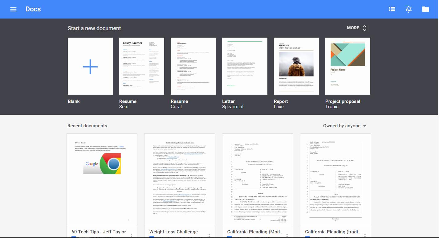 Google Docs Template Gallery