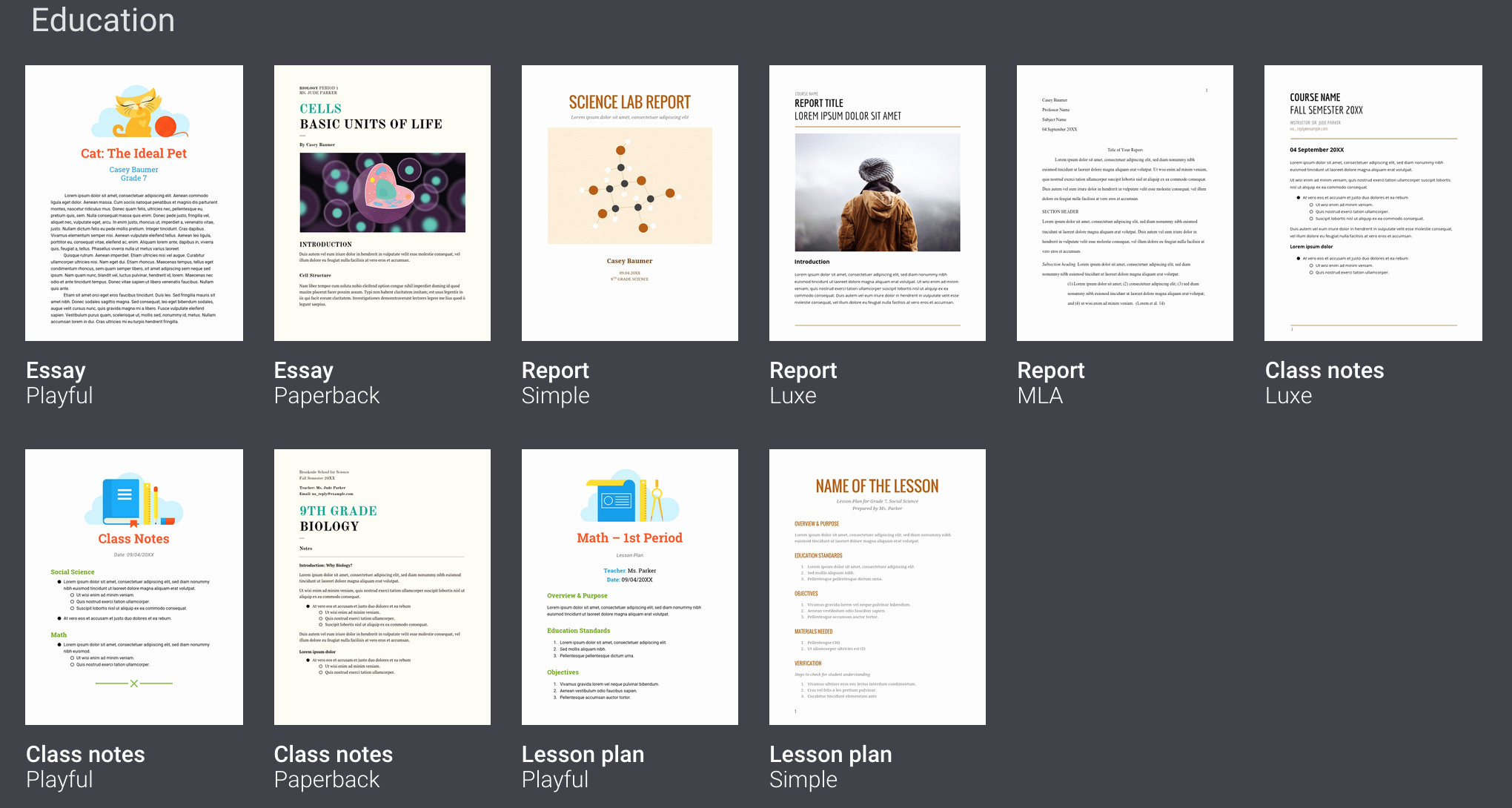 Google Documents Templates