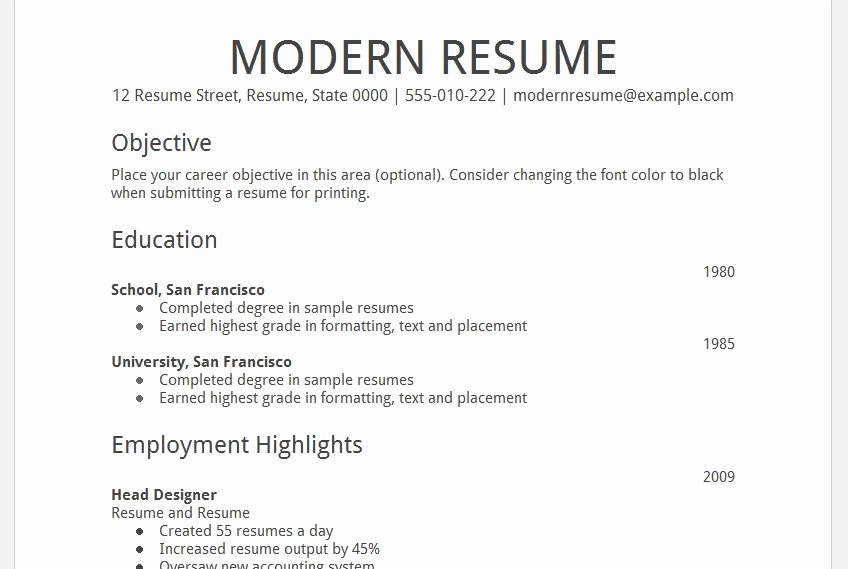 Google Drive Resume Templates