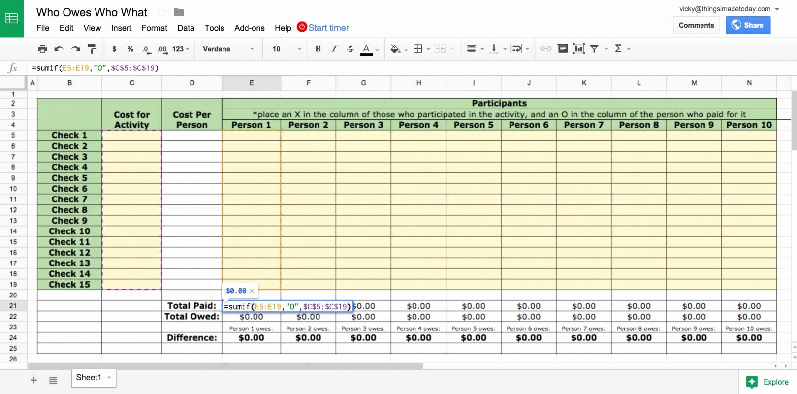 google sheets bud template