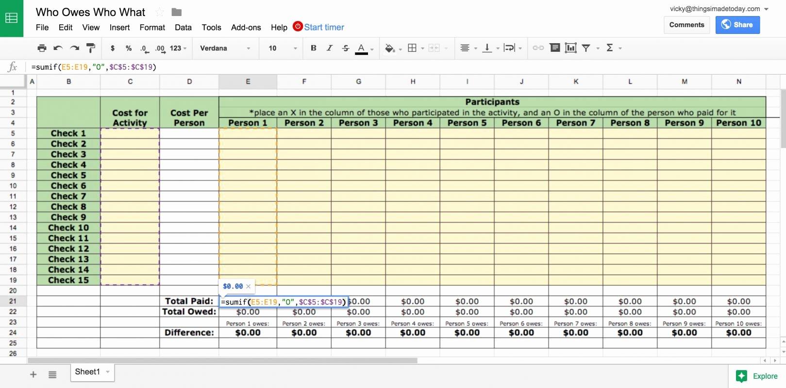 google sheets bud template