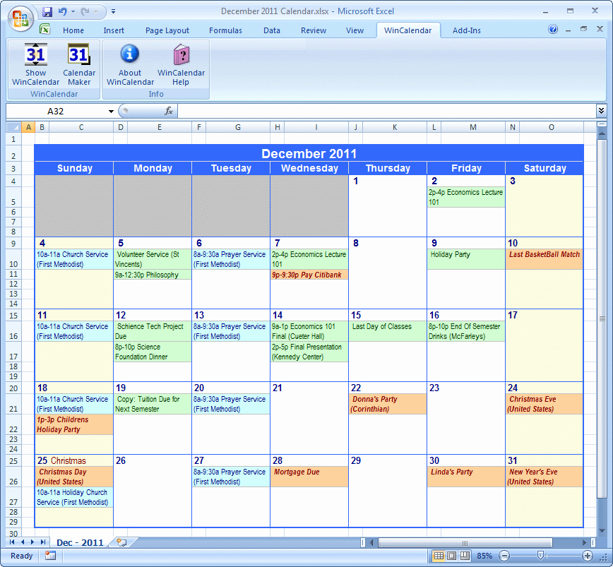 Google Spreadsheet Calendar Template
