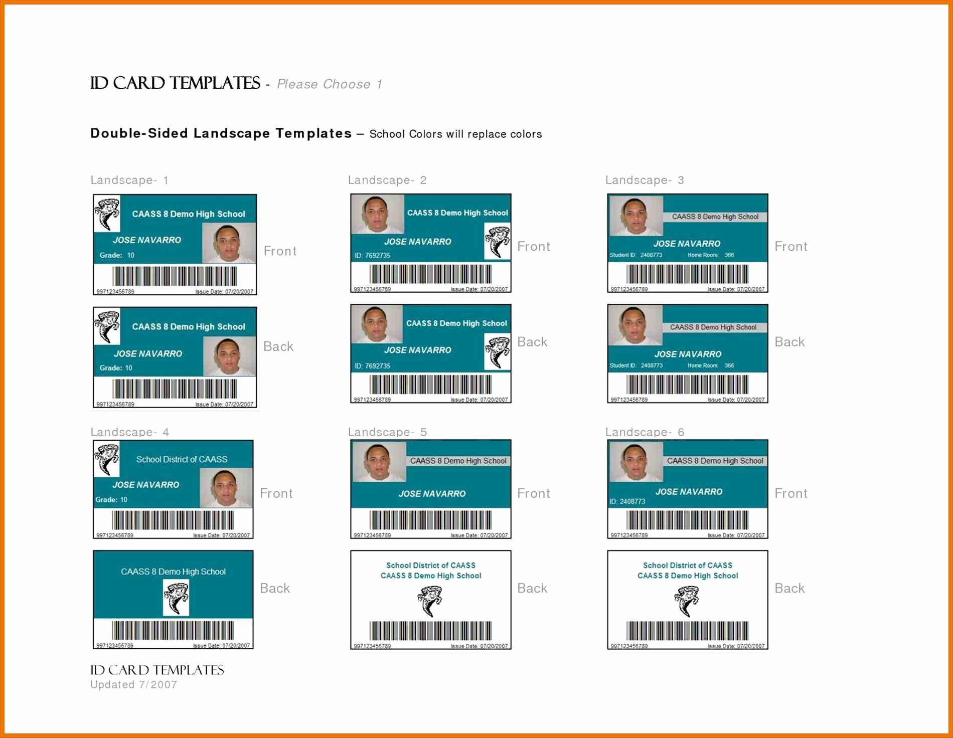 Government Id Card Template Templates Station