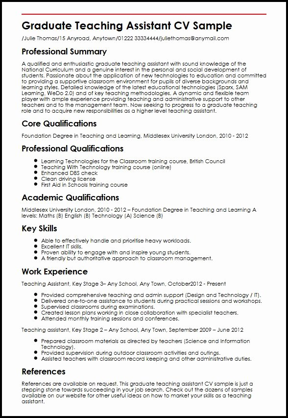 Resume Exampleresumecv Graduate Teaching Assistant Cv Sample