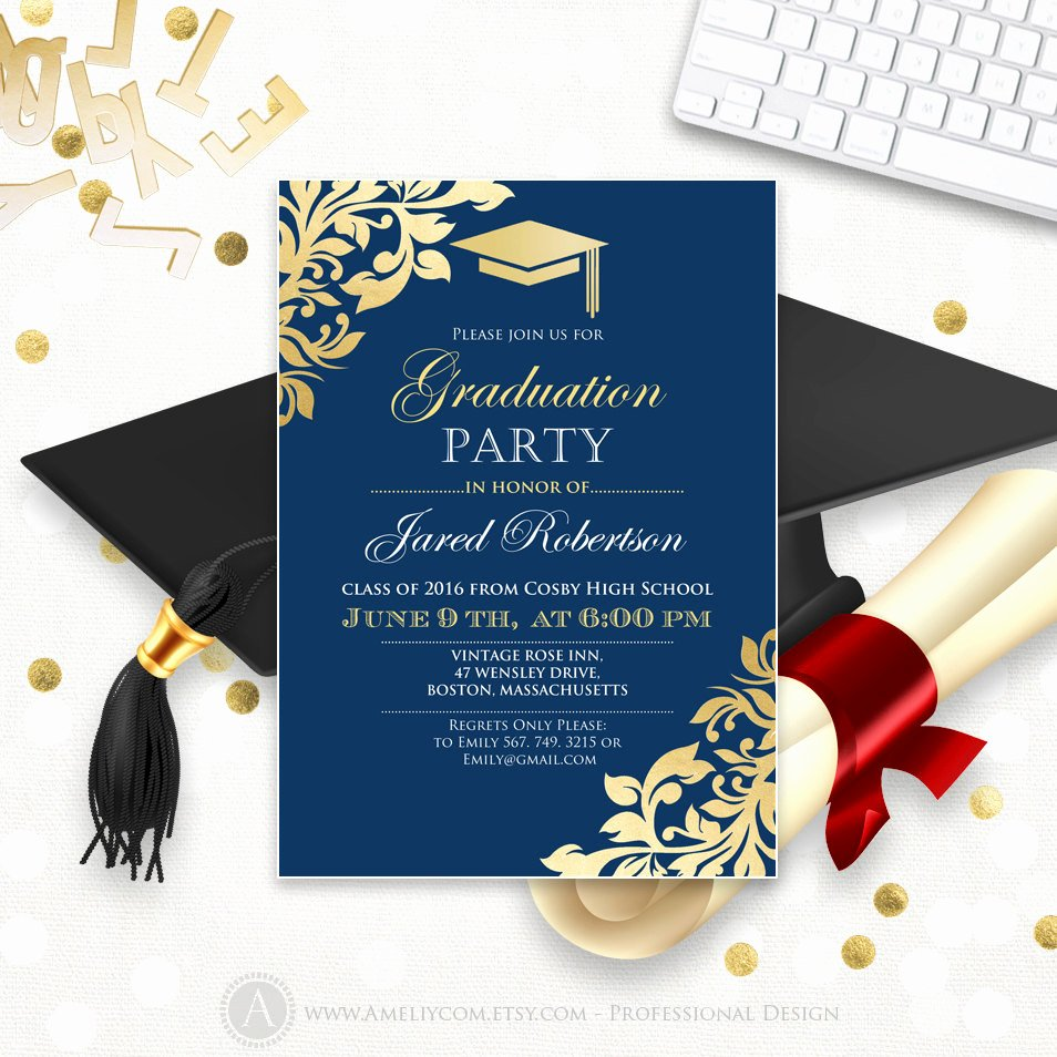 Graduation Announcement Printable Navy Gold College Graduation