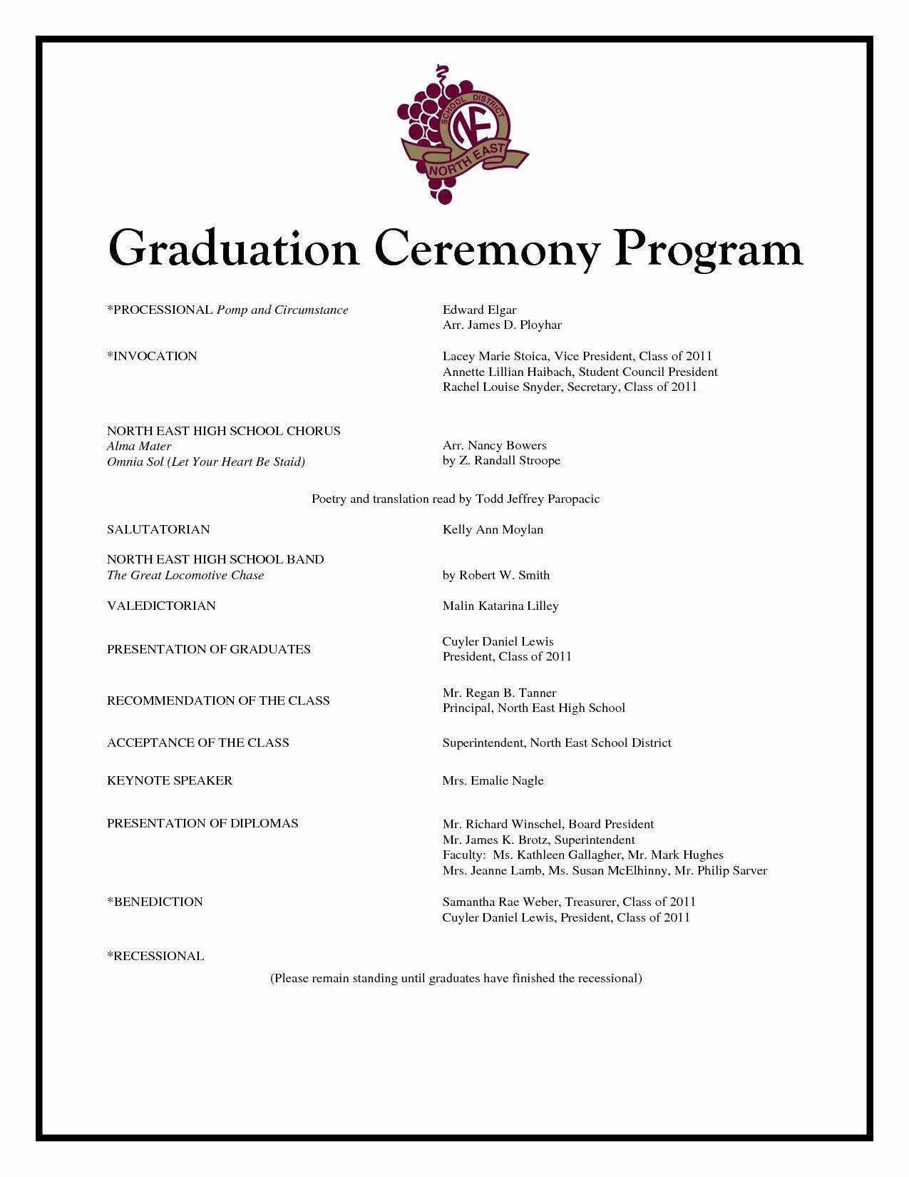 Graduation Ceremony Program Sample