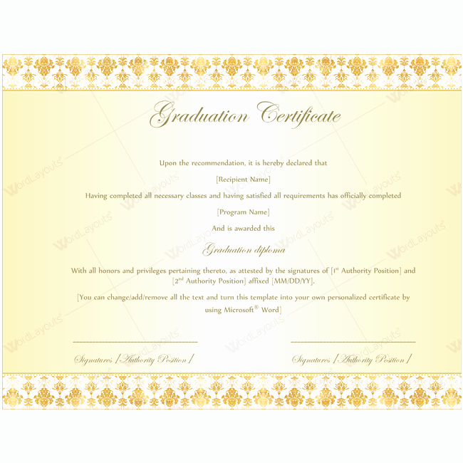 Graduation Certificate 08 Word Layouts