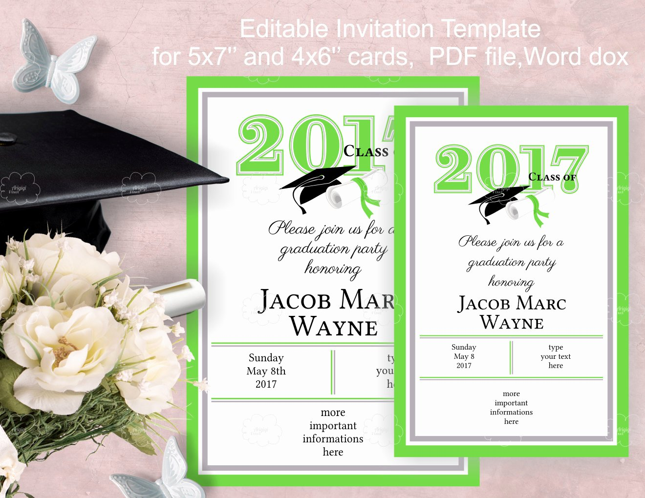 Graduation Party Invitation Template Edit Yourself