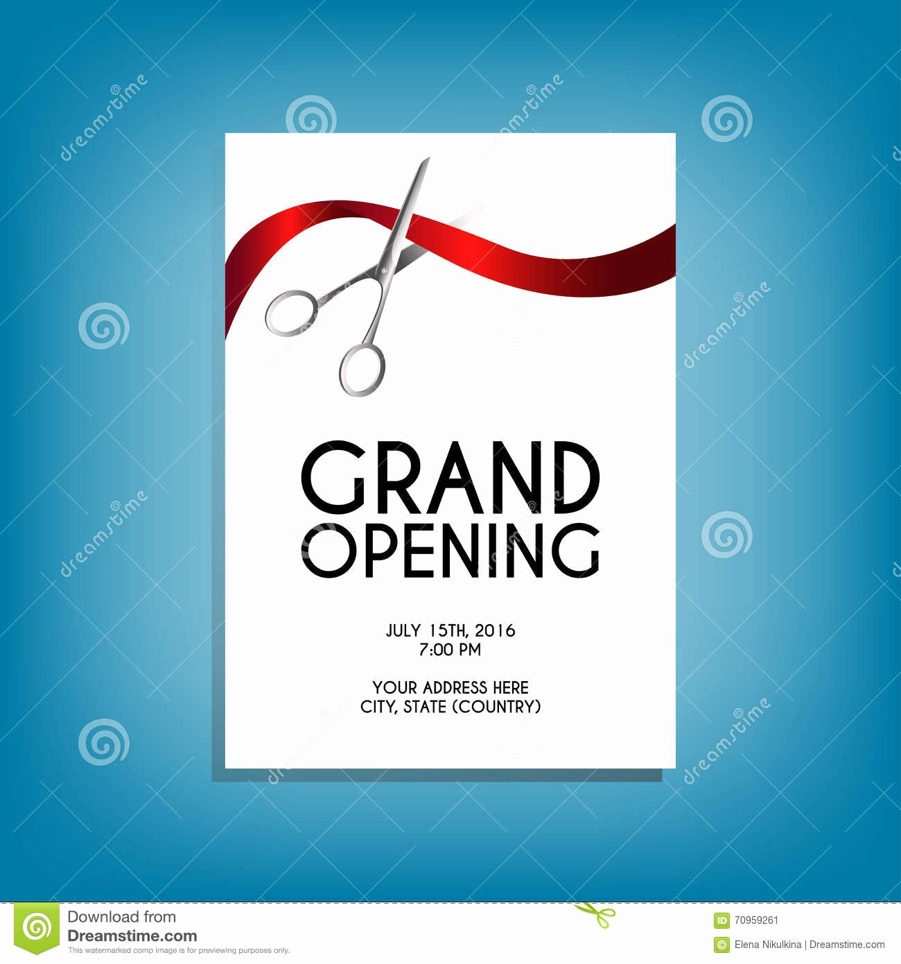 Grand Opening Flyer Mock Up with Silver Scissors Cutting