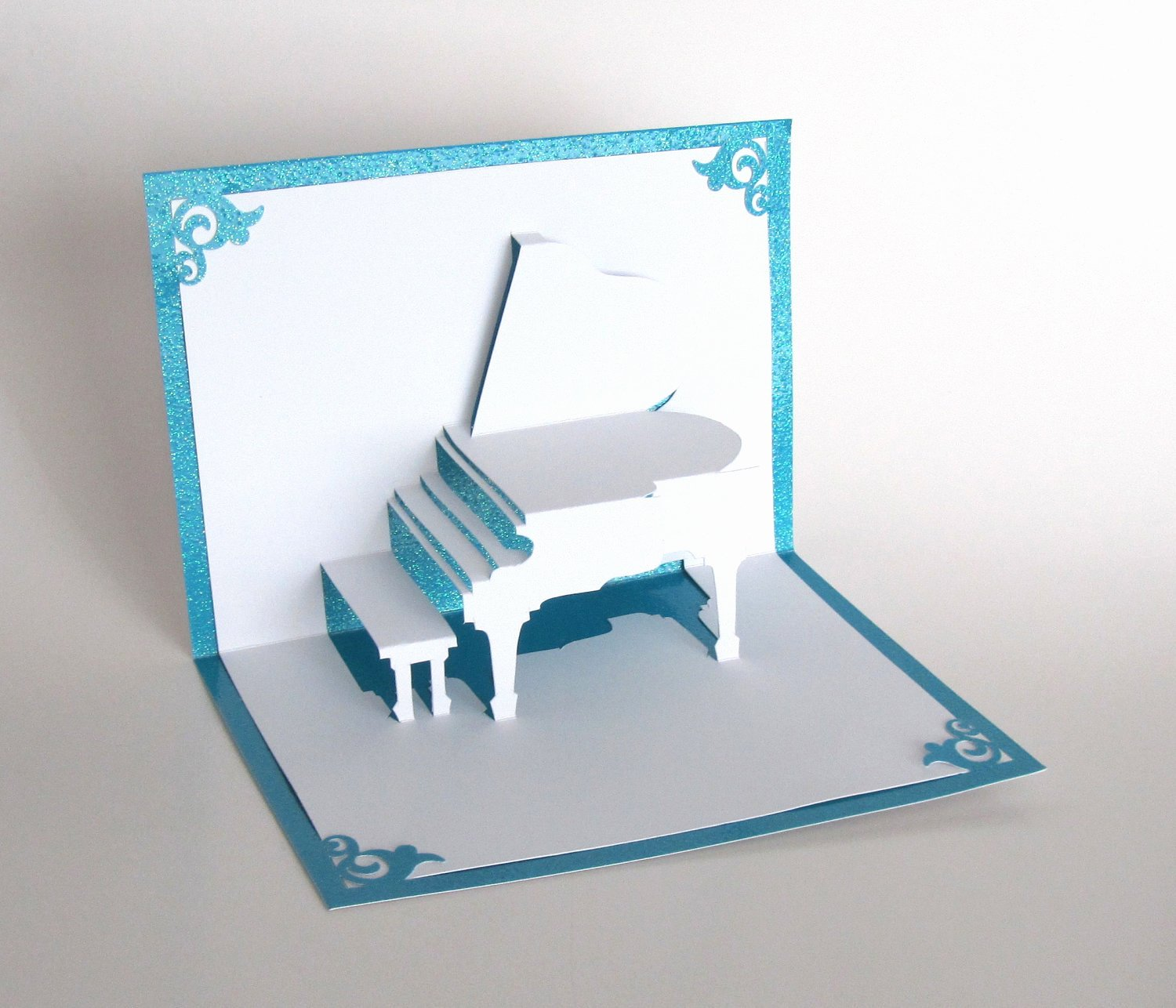 Grand Piano 3d Pop Up Greeting Card Handmade Cut by Hand