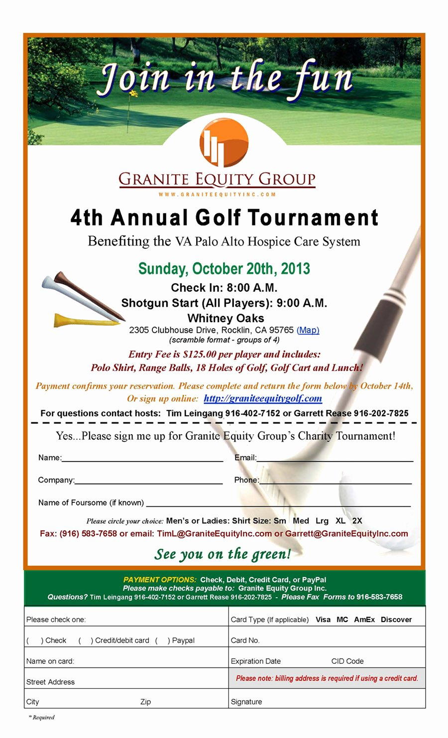 granite equity group 4th annual golf tournament