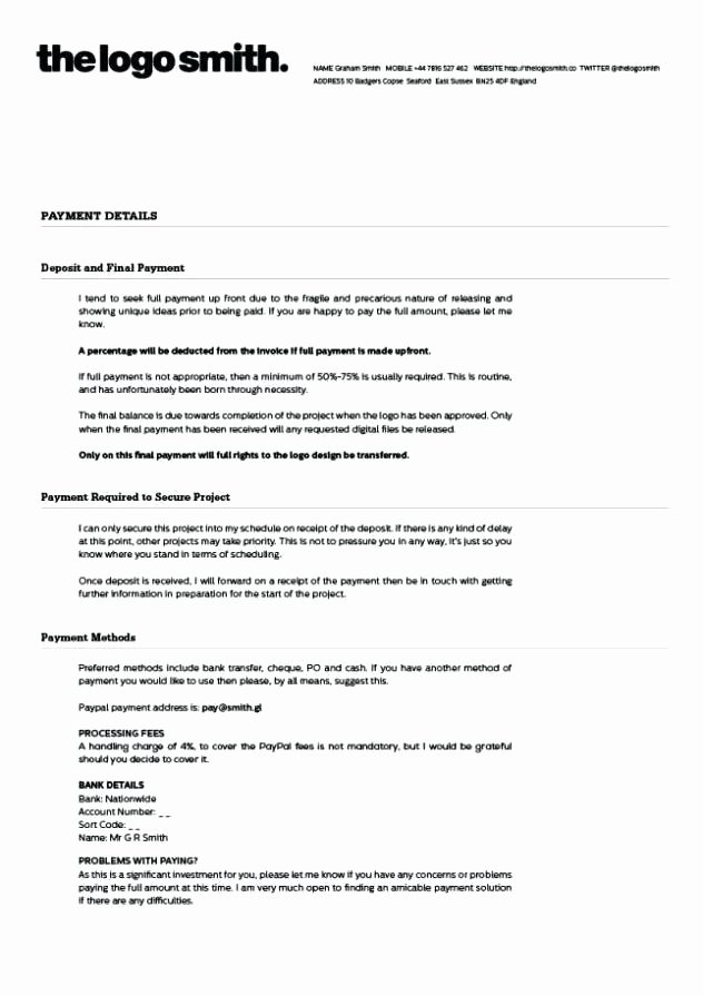 Graphic Design Agreement form Detail Freelance Graphic