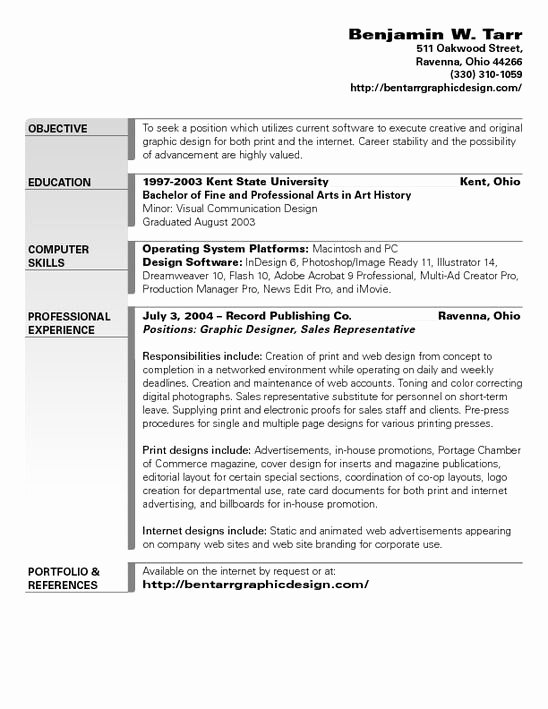 Graphic Design Objective Resume O