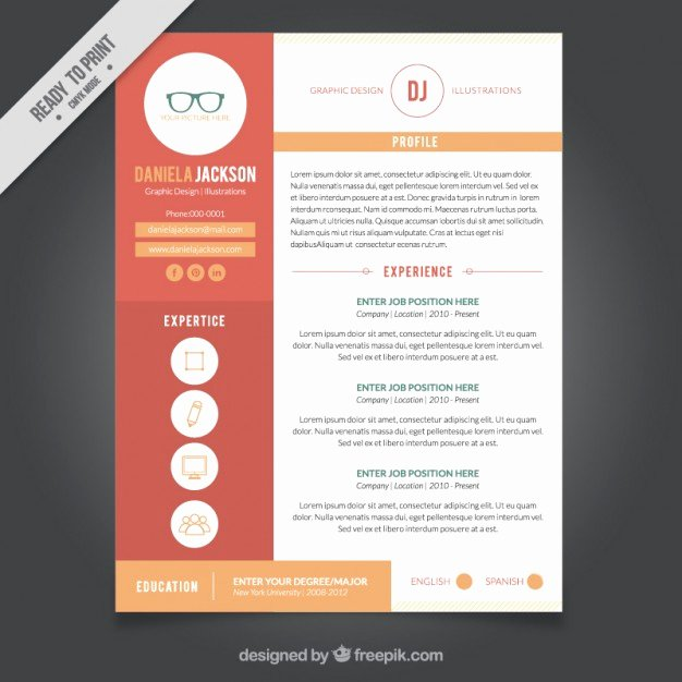 Graphic Design Resume Template Vector