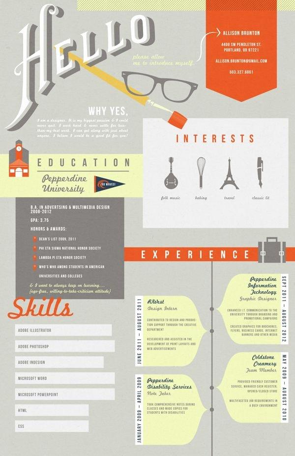 Graphic Resume On Pinterest