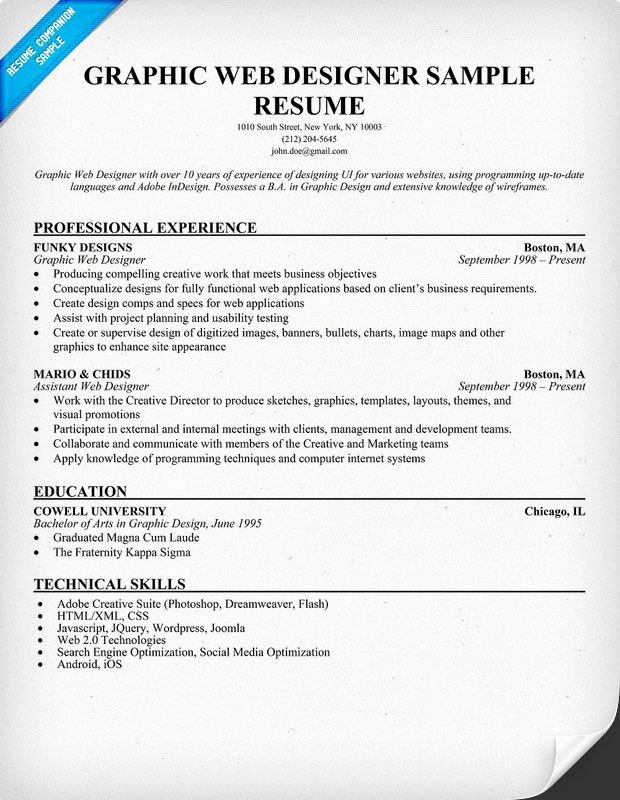 Graphic Web Designer Resume Sample Resume Panion