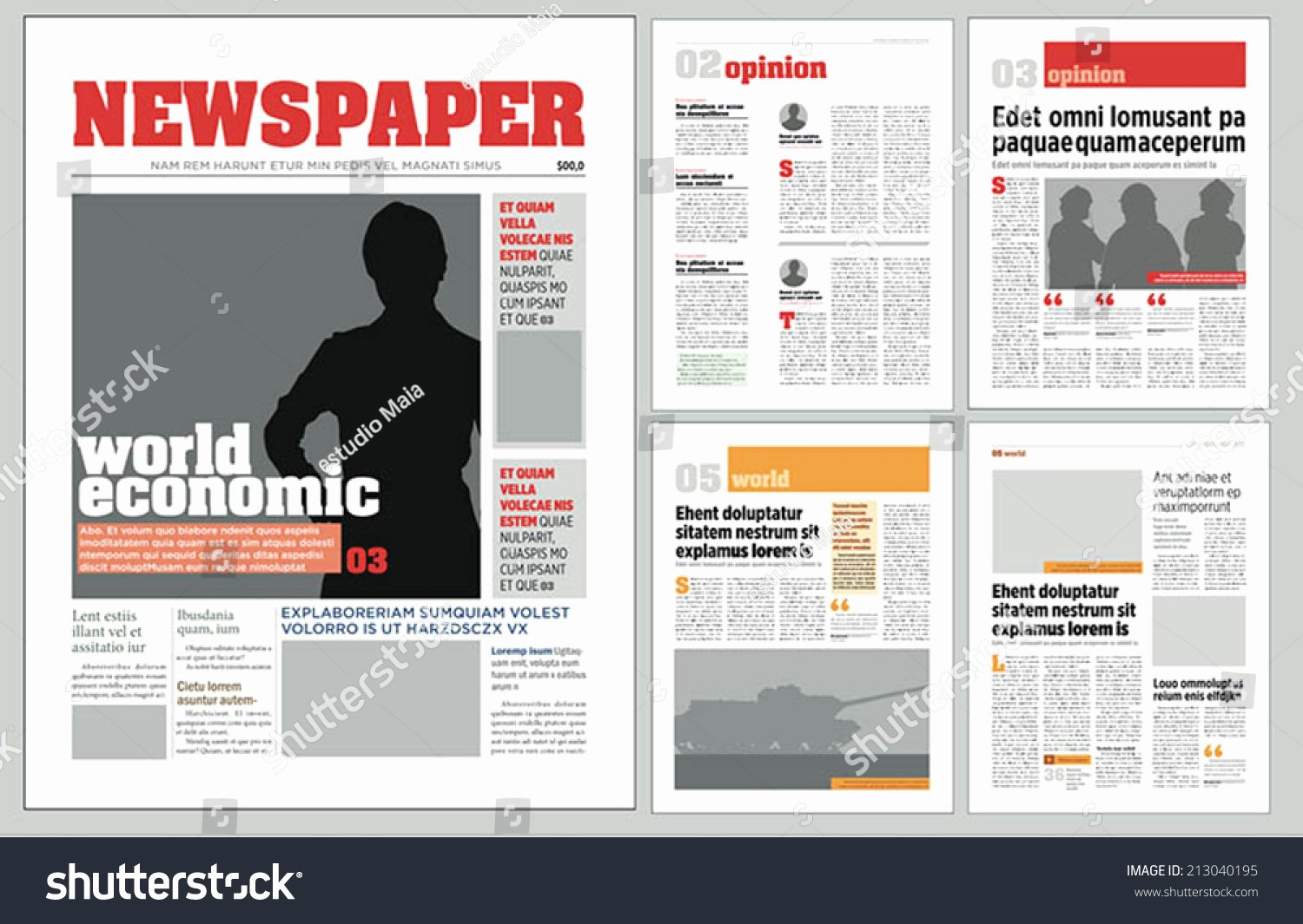 Graphical Design Newspaper Template Stock Vector