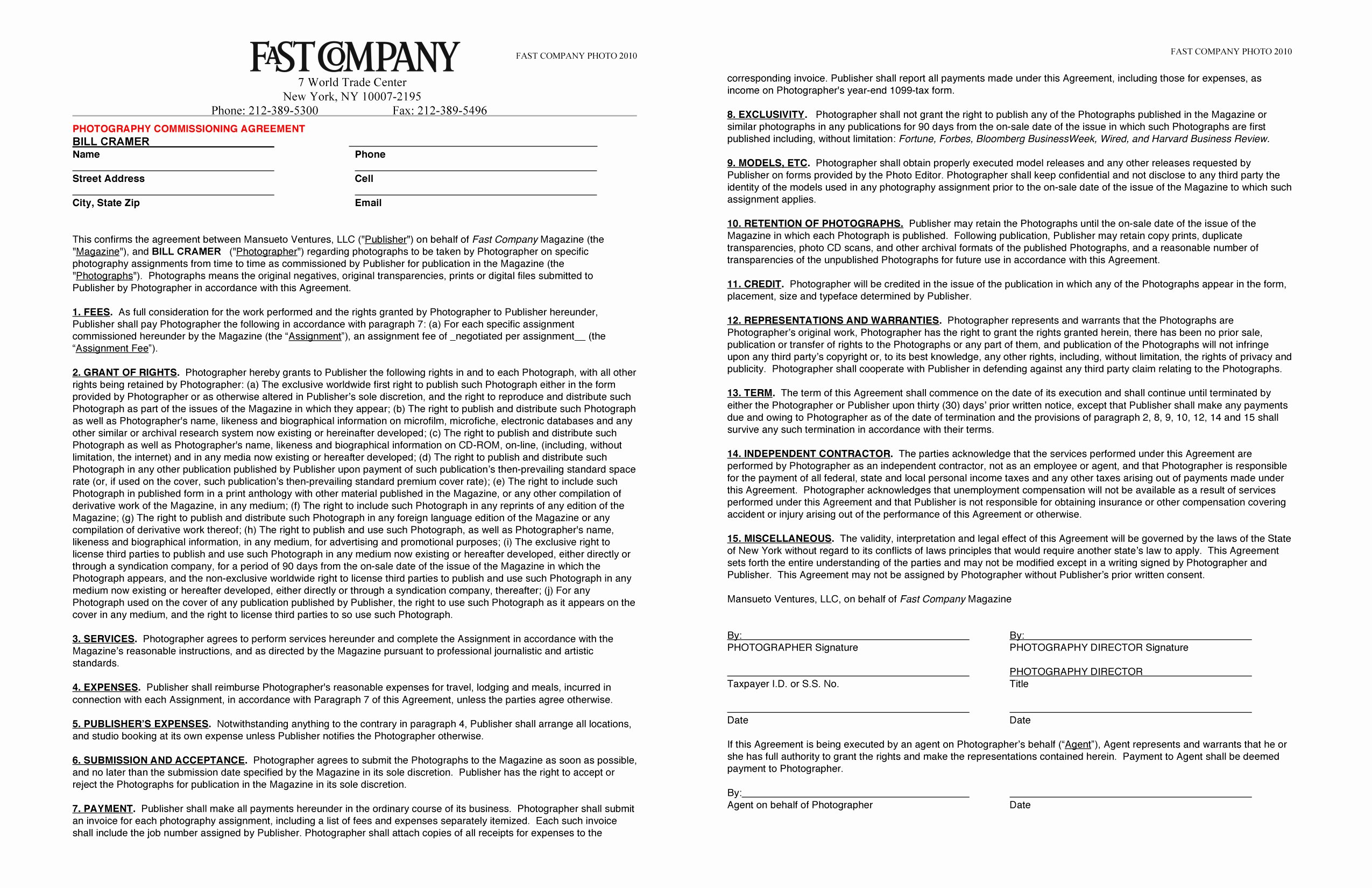 Graphy Contract Free Printable Documents