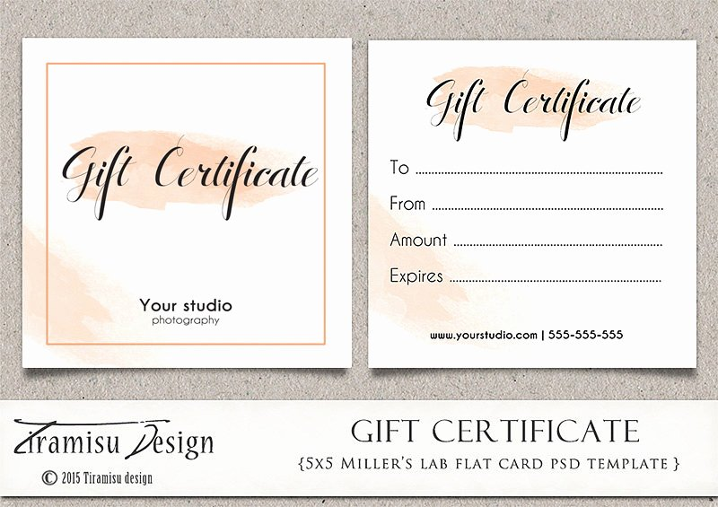 Graphy Gift Certificate Photoshop 5x5 Card Template