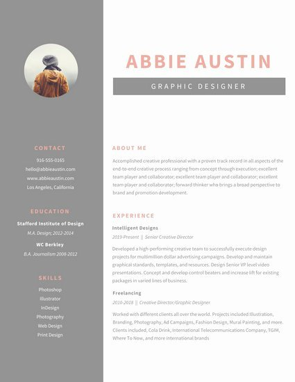 Gray Sidebar Graphic Design Resume Templates by Canva