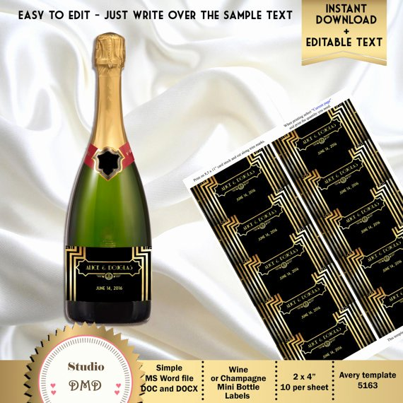 Great Gatsby Art Deco Wine or Champagne Mini Bottle Labels 2