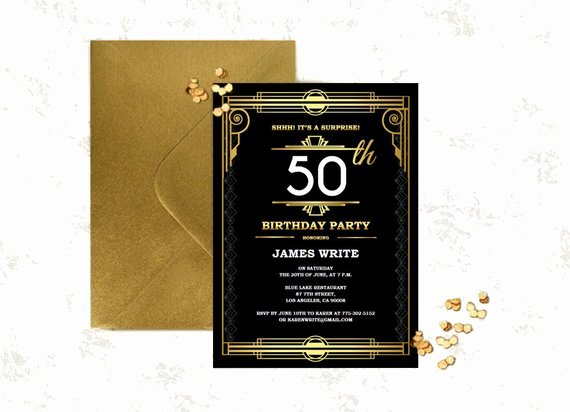 Great Gatsby Birthday Invitation Template Art by Partygraphix