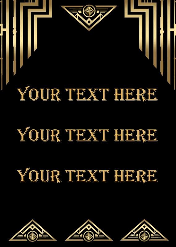 Great Gatsby Style Art Deco Template Birthday Party Signs