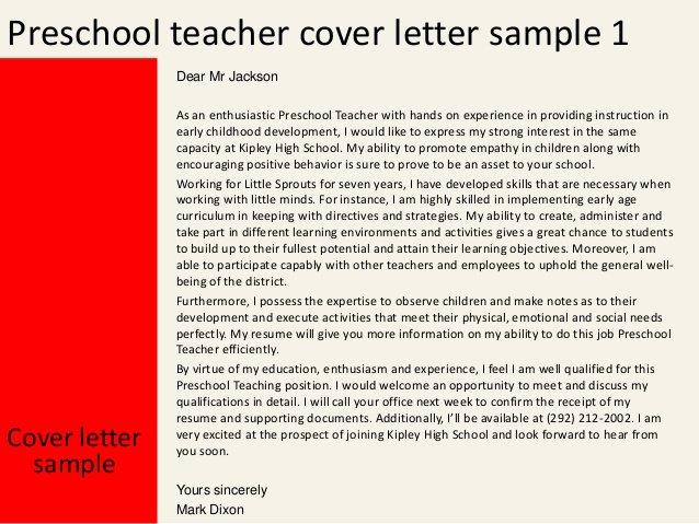 Great Preschool Teacher Cover Letter Writefiction581 Web