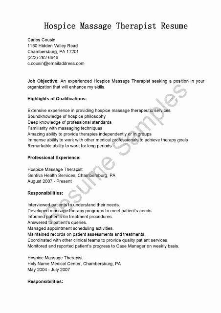 Great Sample Resume Resume Samples Hospice Massage