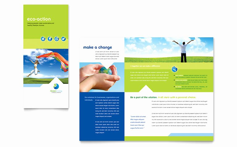 Green Living & Recycling Tri Fold Brochure Template Word