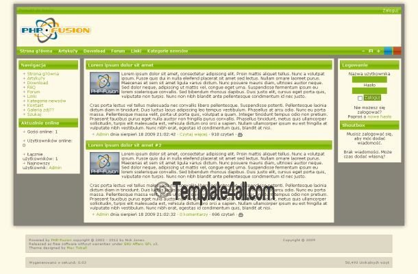 Green Red Blue PHP Fusion theme Download