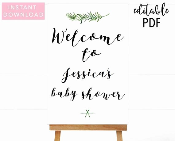 Greenery Baby Shower Wel E Sign Template Wel E Sign Baby