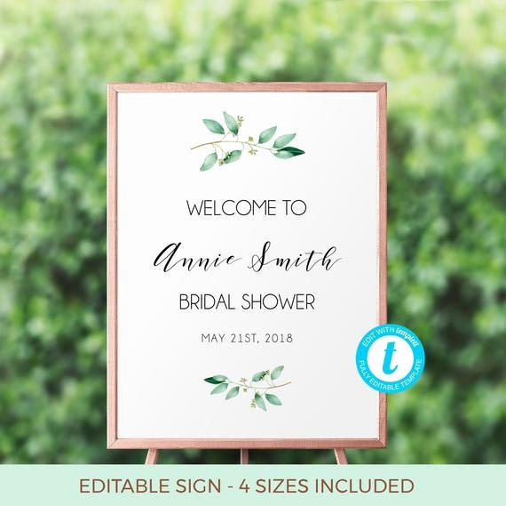 Greenery Bridal Shower Wel E Sign Template Bridal
