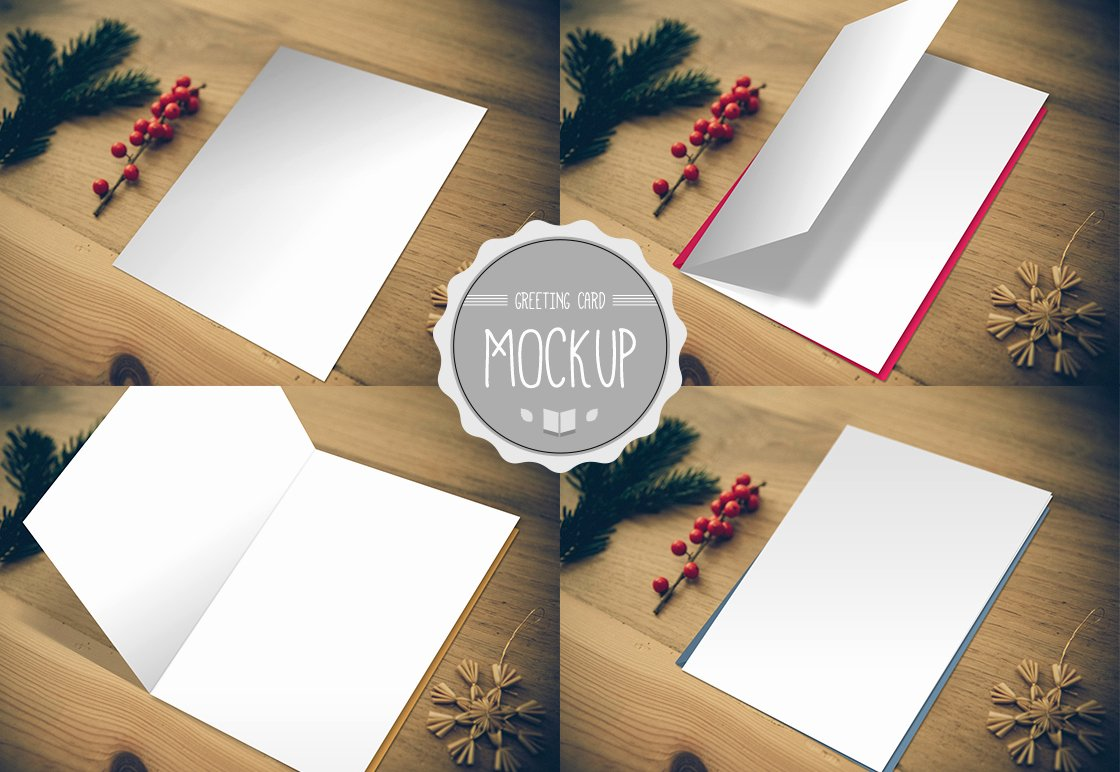 Greeting Card Mockup Graphic Shop Psd Template