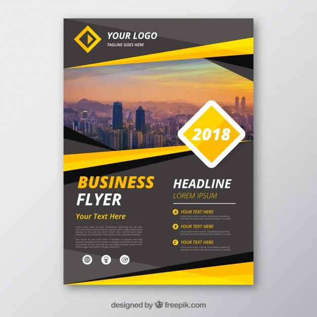 Grey and Yellow Business Flyer Template Vector