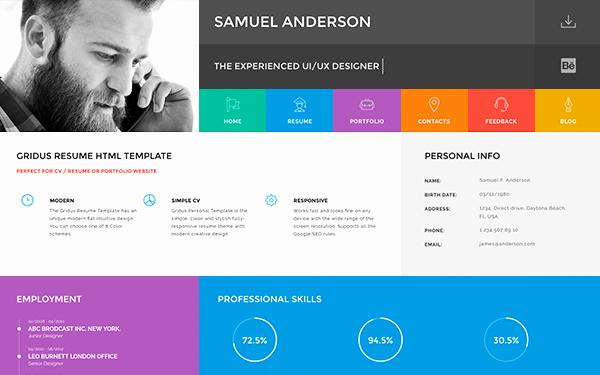 Gridus Vcard Cv Resume Portfolio