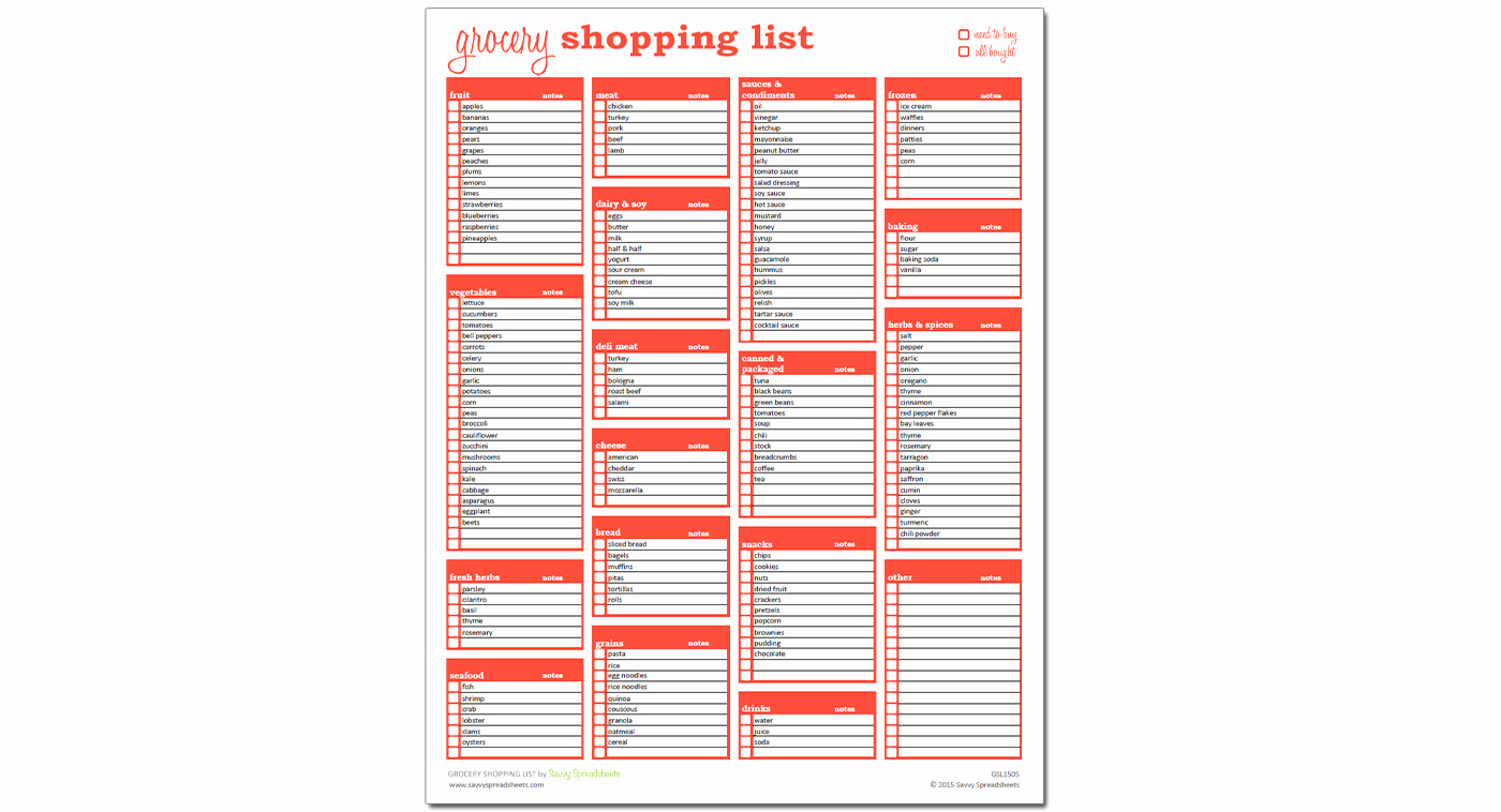 Grocery Shopping List Excel Template Savvy Spreadsheets