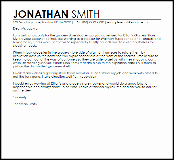 Grocery Store Job Sample Cover Letter
