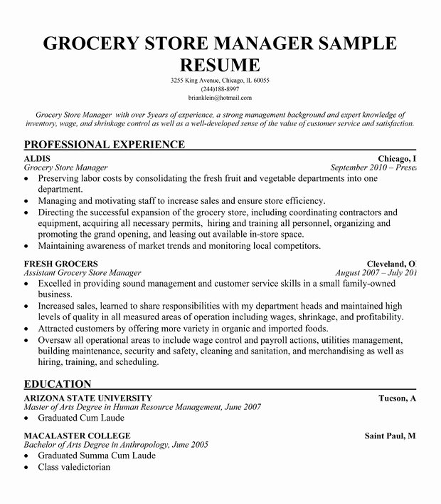 Grocery Store Manager Resume Sample
