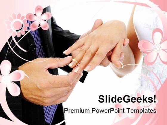 Groom Wears Ring Bride Wedding Powerpoint Templates and
