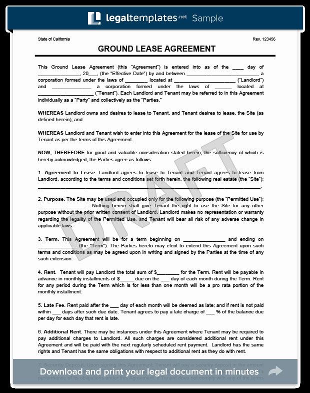Ground Lease Agreement Print & Download